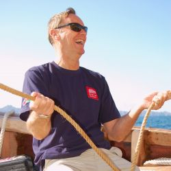 Chris Biggins at the helm of Jewel of Muscat January 2010